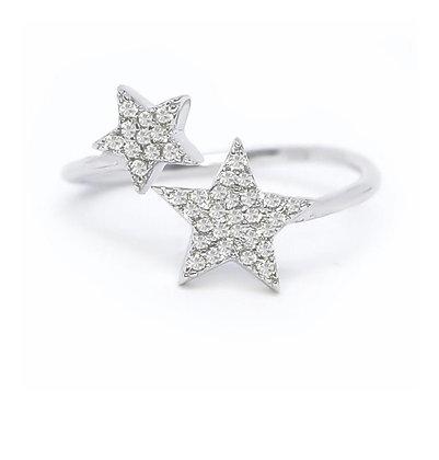 טבעת כוכבים משובצת