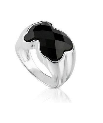 טבעת דובון קריסטל שחורה