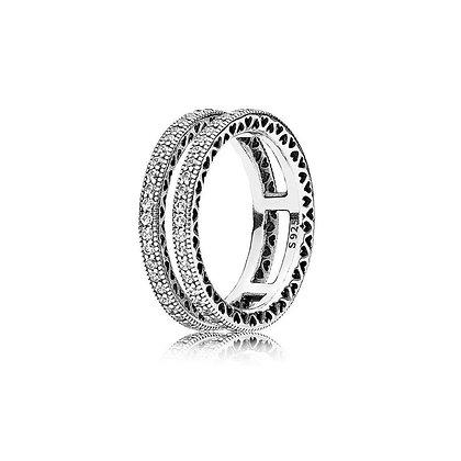 טבעת כפולה משובצת