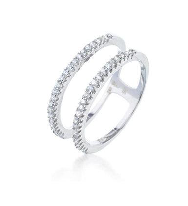 טבעת טניס2 שכבות משובצת עדינה