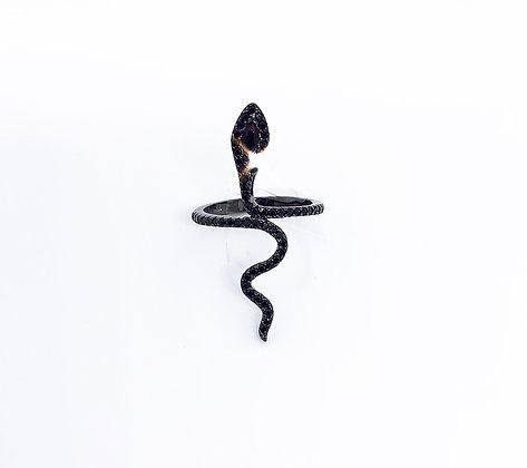 טבעת נחש שחורה משובצת