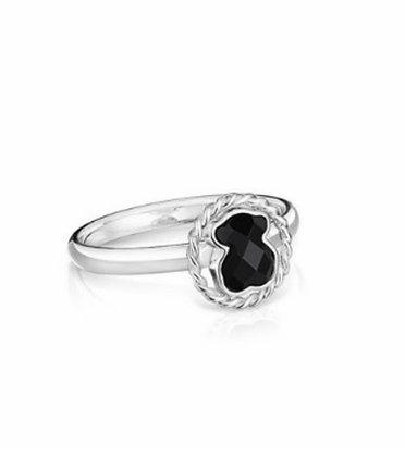 טבעת דובון חותם שחורה