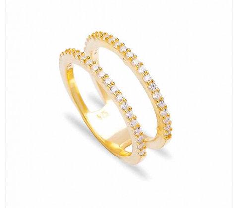 טבעת 2 פסים זהב