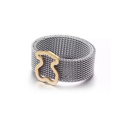 טבעת דובי חלול בצבע זהב