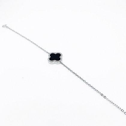 צמיד אבן תילתן שחורה בעיטור זרקונים עשוי כסף טהור