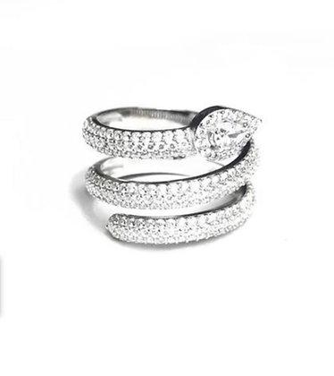 טבעת נחש ספירלה משובצת