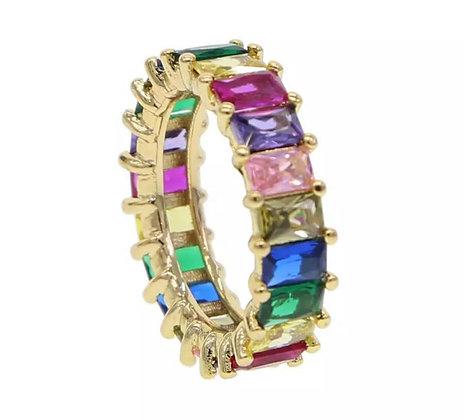 טבעת ציפוי זהב 14kבאגט ציבעוני
