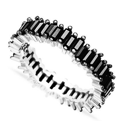 טבעת אבני באגט שחורה