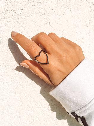 טבעת לב שחור משובץ