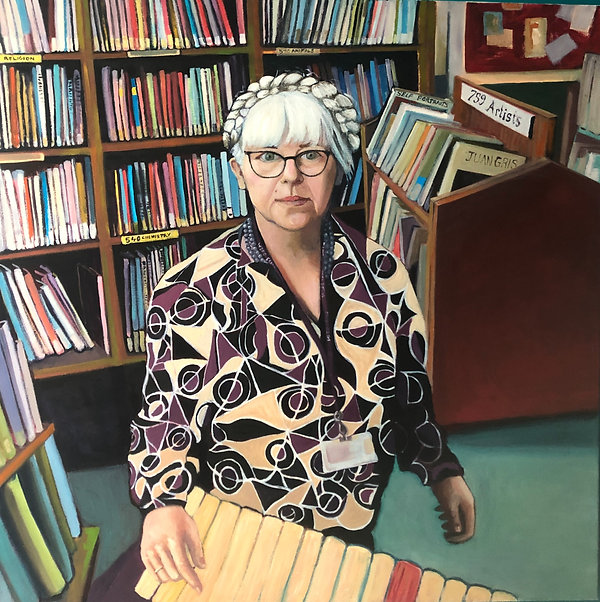 Ms Kelly in the LRC, oil on canvas, 115 x 115 cm, 2021
