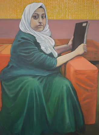 A Girl with her Sketchbook, Oil on Board, 60 x 80 cm, 2018