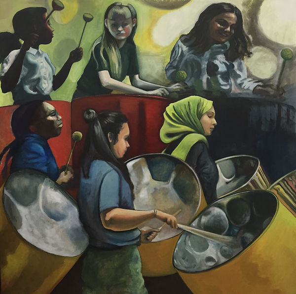 Steel Panners, Oil on Canvas, 150 x150 cm, 2019
