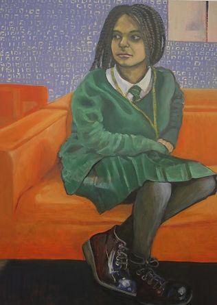 A Girl on a Sofa, Oil on Board,  60 x 80 cm, 2018