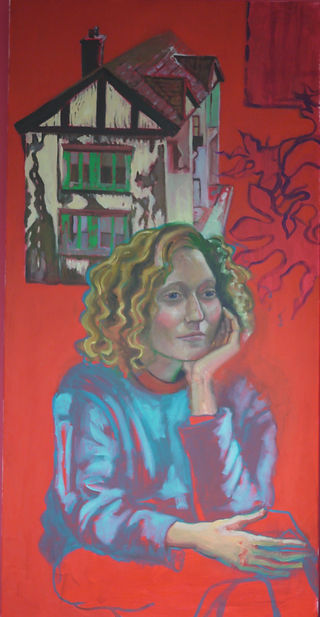 Red Becca Painting ( Portrait of Rebecca Whitelaw) by Nicola Hepworth , Oil on Canvas, 60 cm X 120 cm, 2019
