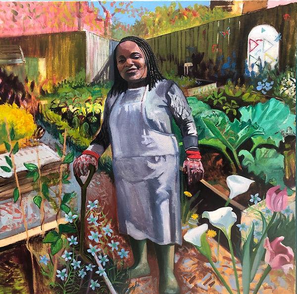 Ms Dominique in the School Allotment, oil on canvas, 115 x115 cm, 2021.pg
