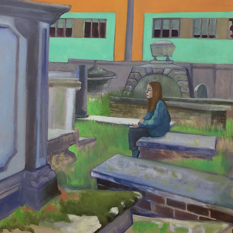 View of the Art Room from the Graveyard, oil on linen, 80 x 80 cm, 2019