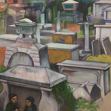 View of the Graveyard from the Art Room, oil on linen, 80cmX80cm, 2019