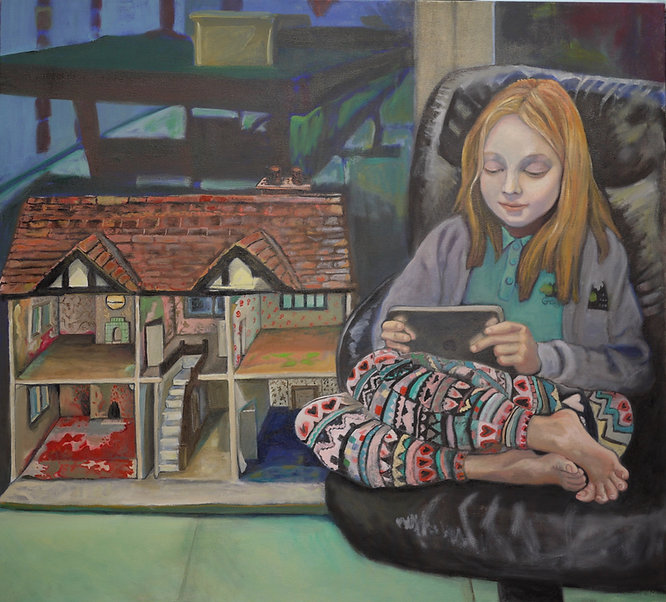 Nell Playing by Nicola Hepworth , Oil on Canvas