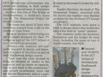 UCT STUDENTS CREATE FUN CHAIRS FOR THE BOYS FROM THE BRIDGE HOUSE