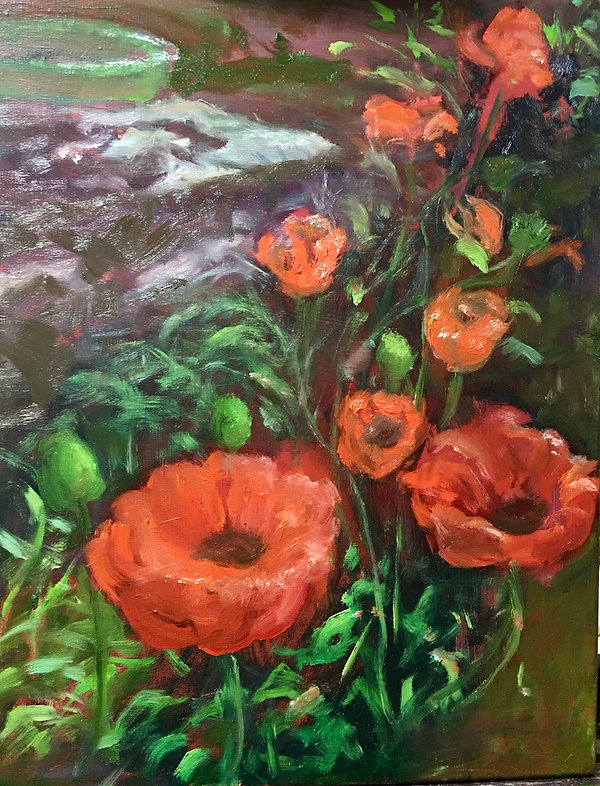 Breakell 5  Garden Poppies   oil on canv