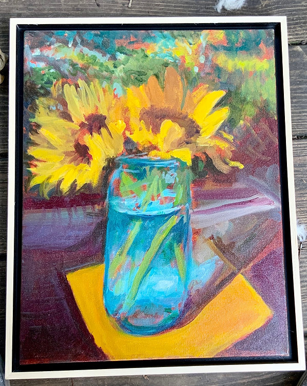 NEW #9 Yellow and Aqua, 18x14 framed oil