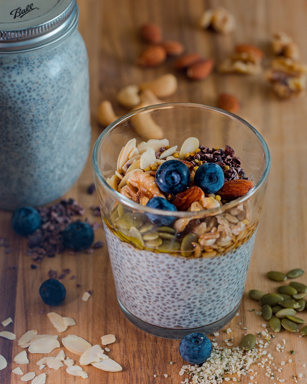 Chia Seed Pudding topped with nuts, seeds and berries.