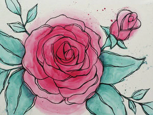 Watercolor Rose Canvas