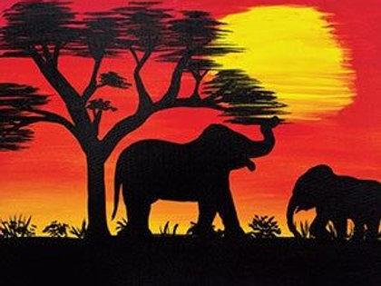 Safari Sunset Canvas