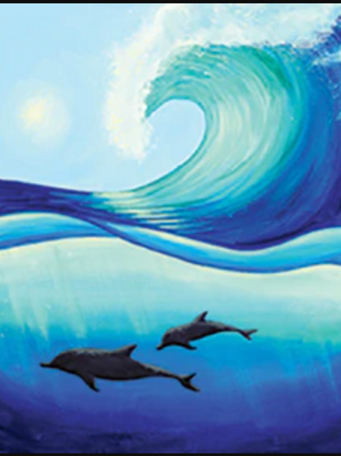 Dolphin Wave Canvas