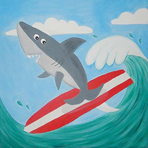 Surfer Shark Canvas