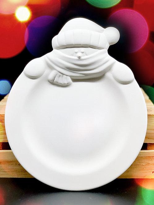Snowman Rimmed Plate
