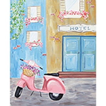 Scooter in Europe Canvas