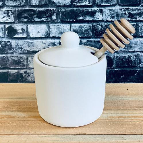 Honey Pot w/ lid and Honey Stick
