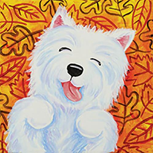 Leaf Pile Pup Canvas