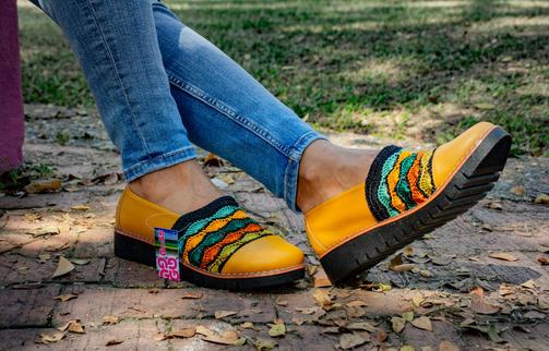 Calzado dama en cuero y tejido crochet MARIANA ATC8
