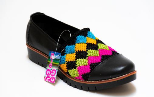 Calzado para dama en cuero y tejido crochet EVA ATC11