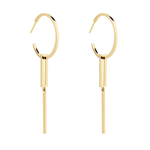18k yellow gold hoop earring with hanging detail