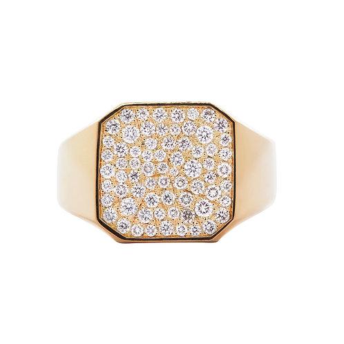 Firkantet, guld signetring med pavé, hvide diamanter