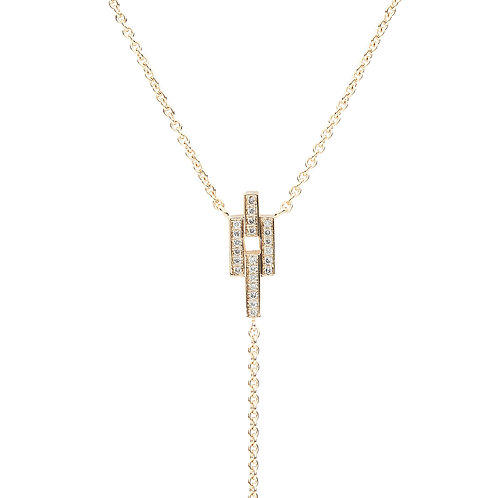 18k yellow gold necklace set with 0.12 ct champagne-color diamonds, chain detail, close up