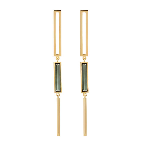 18k yellow gold statement earrings with green tourmaline gemstones