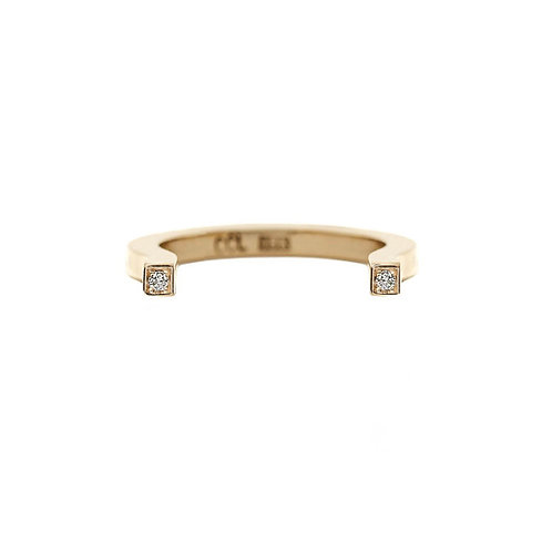 18k yellow gold, shaped ring set with 0.02 ct champagne-color diamonds, front view