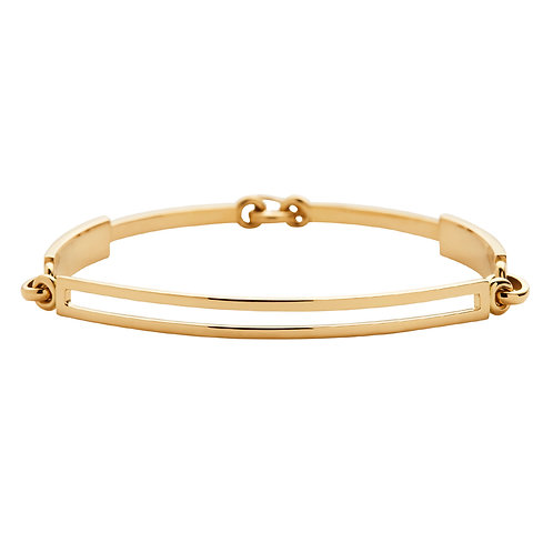 18k yellow gold bracelet with handmade clasp, front view