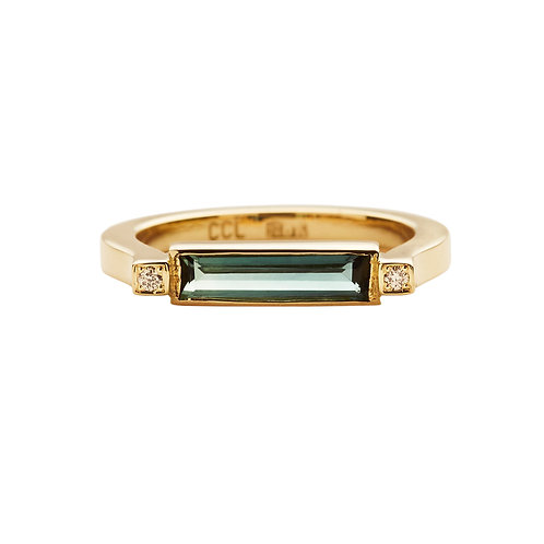 18K yellow gold ring, u-shape, with green tourmaline and 0.02 ct diamonds, Front view