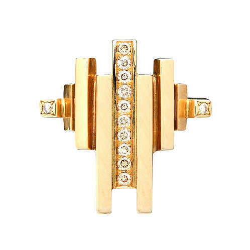 18k yellow gold ring set with 0.12 ct champagne-color diamonds