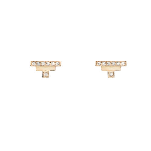 18k yellow gold mini earstuds set with 0.08 ct champagne-color diamonds