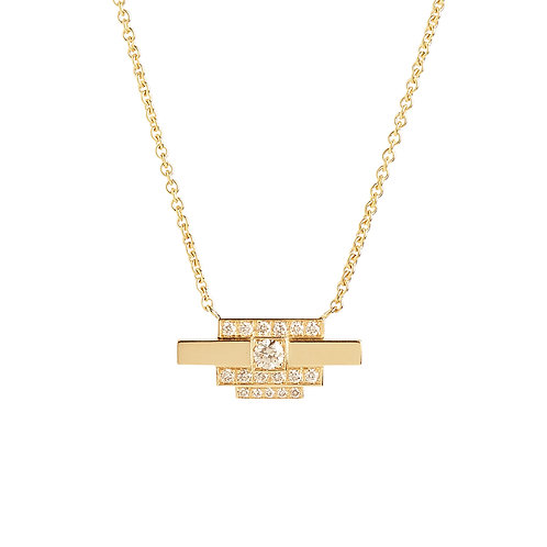 Brick Necklace in 18K yellow gold set with 0.24 ct champagne-color diamonds, front view, 42cm long