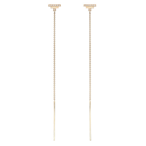 18k yellow gold earrings set with 0.08 ct champagne-color diamonds, chain detail