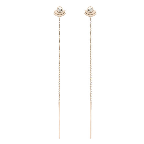 18k yellow gold earrings set with 0.30 ct champagne-color diamonds, chain detail