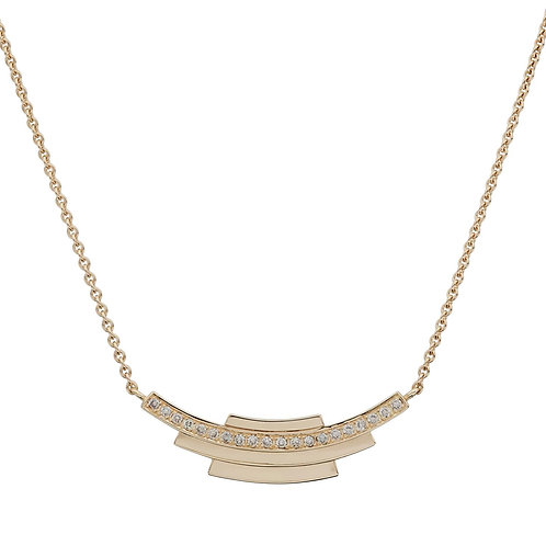 18k yellow gold necklace set with 0.20 ct champagne-color diamonds
