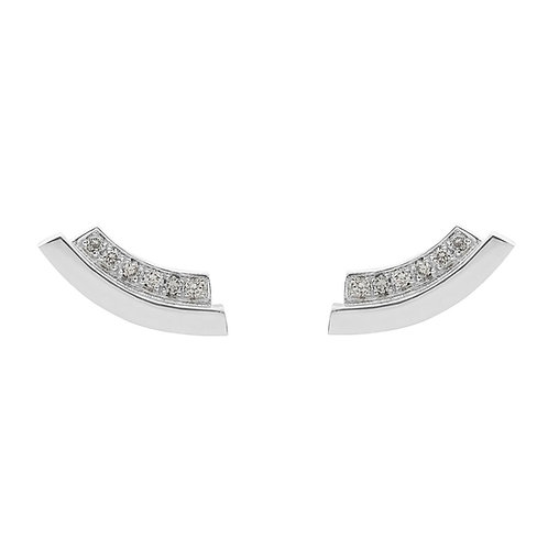 sterling silver earstuds set with 0.12 ct champagne-color diamonds
